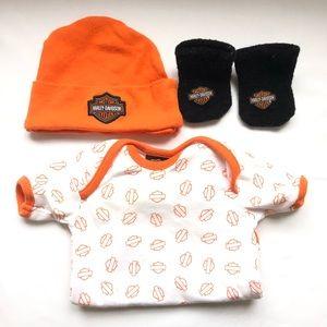 Harley-Davidson 0-3 socks, diaper shirt, hat set